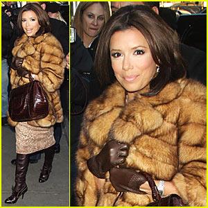 Eva Longoria wearing a Fur Coat